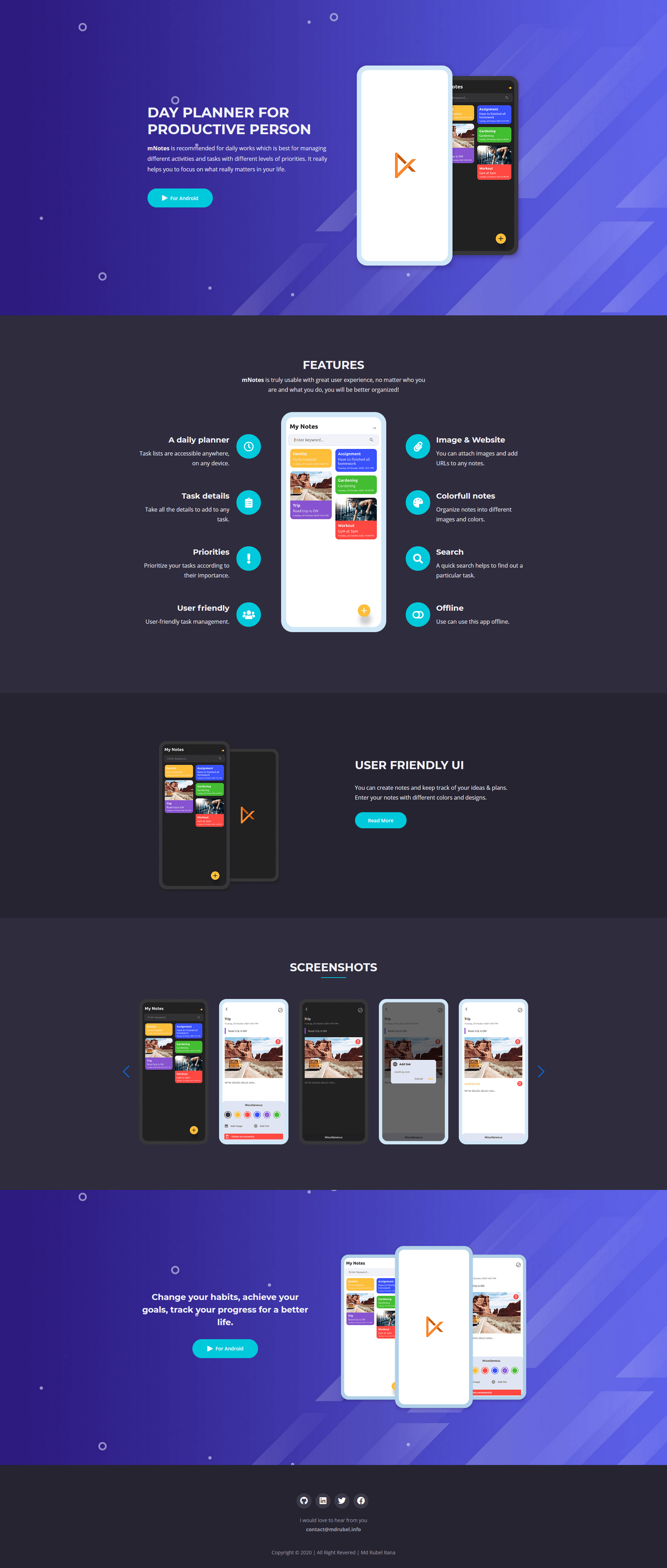 mNotes Android App Website